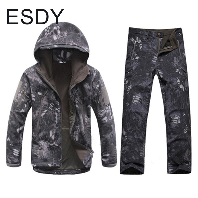 Winter Windproof Thermal Waterproof Soft Shell Jacket Pants Men Outdoor Climbing Hiking Warm Camouflage Coat Trousers