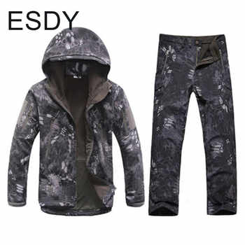 Winter Windproof Thermal Waterproof Soft Shell Jacket + Pants Men Outdoor Climbing Hiking Warm Camouflage Coat Trousers Sets - DISCOUNT ITEM  32% OFF Sports & Entertainment