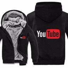 Winter Warm Youtube Logo Hoodies Dikke Fleece Nieuwe Gedrukt U Buis Sweatshirt Jas Warm Liner Mannen Sweater Jas