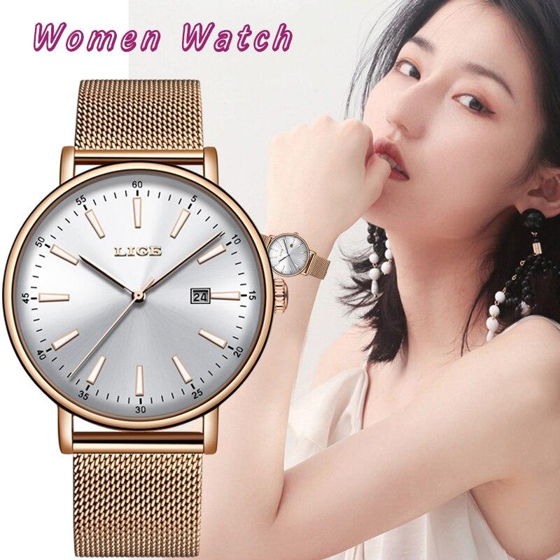 2019 LIGE Women Watches Date Business Quartz Watch Ladies Top Brand Luxury Simple Fashion Clock Girl Clock Relogio Feminin+Box