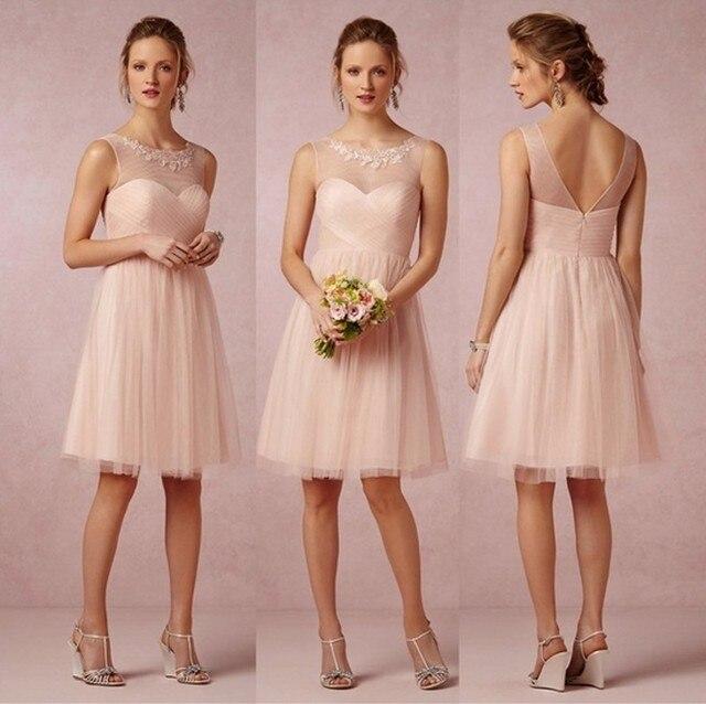 licht roze/blush bruidsmeisje jurk 2017 knielengte meisjes bruiloft