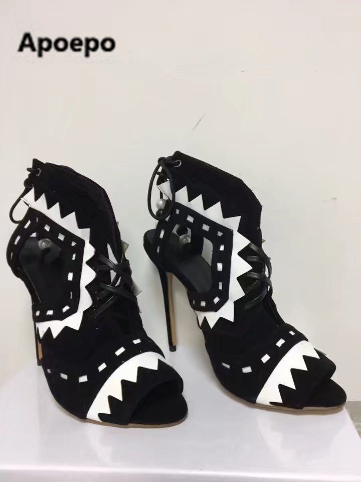 Apoepo brand fashion black white mixed colors summer pumps lace-up string bead high heels sandals women peep toe women's shoes apoepo brand black luxury diamond sandals women sexy pointed toe string bead ladies shoes summer high heels sandals shoes 2018