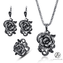 Luxury Flower Vintage Jewelry Set Fashion Black Rhinestone Crystal Big Rose Pendant Necklace Set Elegant Silver Color Jewelry20%