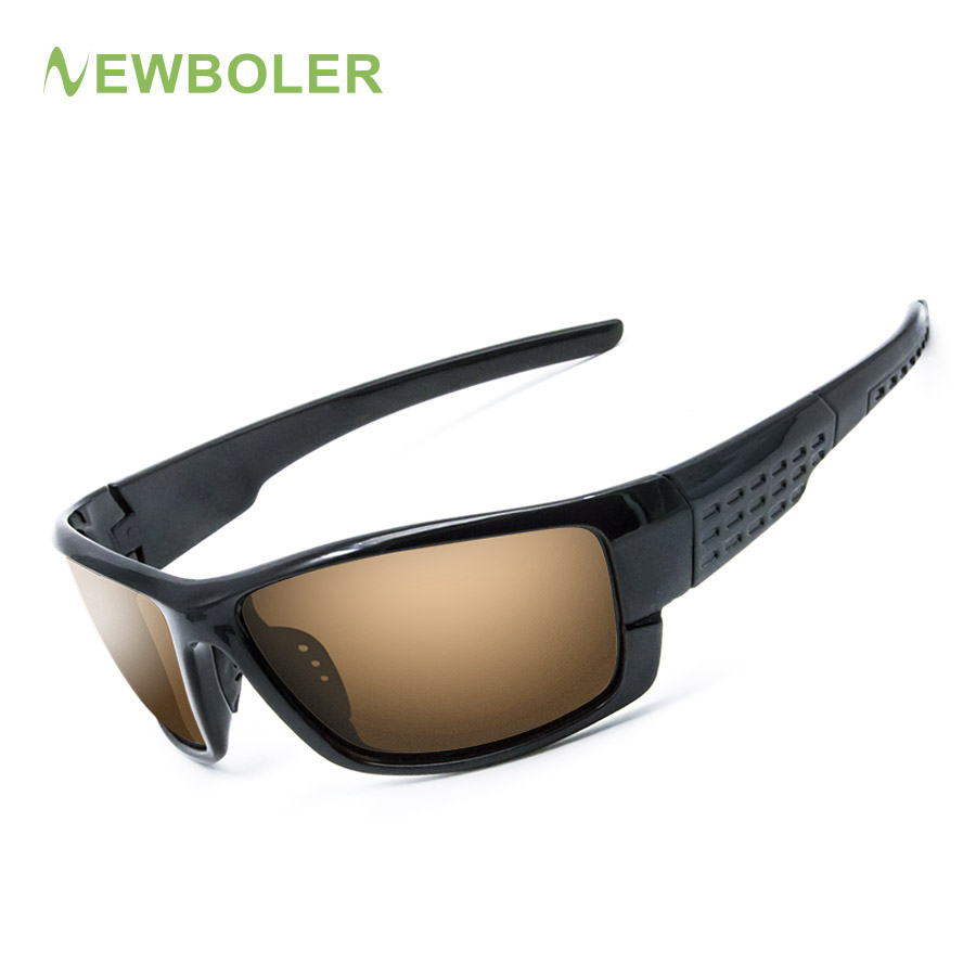NEWBOLER Polarized Fishing Sunglasses Yellow Brown Lenses Night Version Men Glasses Outdoor Sport Driving Cycling Eyewear UV400 hdcrafter brand new men s polarized mirror sun glasses comfortable male driving eyewear accessories sunglasses for men