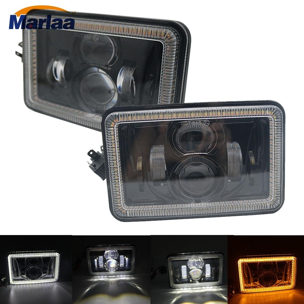 "5x6 led Headlights with White/Amber Halo DRL Turn Signal Rectangular H4651 H4652 H4656 H4668 H6545 4""x6"" Square Led Headlamp"