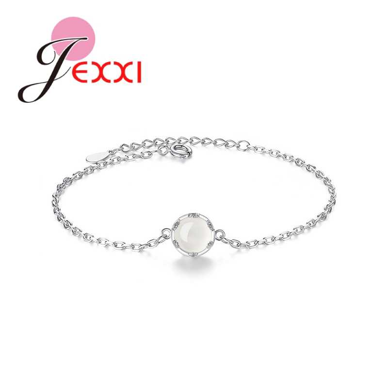 Real 925 Sterling Silver Thin Link Chains Bracelets With Round Crystals For Women Wedding Banquet Fashion Wrist Jewelry