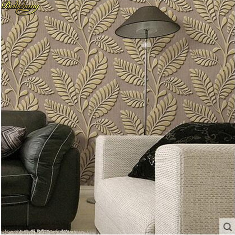 beibehang High - grade silk non - woven three - dimensional embossed living room bedroom background wall green leaf wallpaper high grade non woven fabric of green chinese trumpet creeper wallpaper europe type restoring ancient ways sitting room bedroom