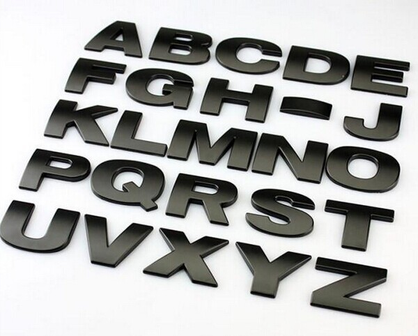 top quality car styling 3d metal letters emblem digital figure number chrome diy car silver black