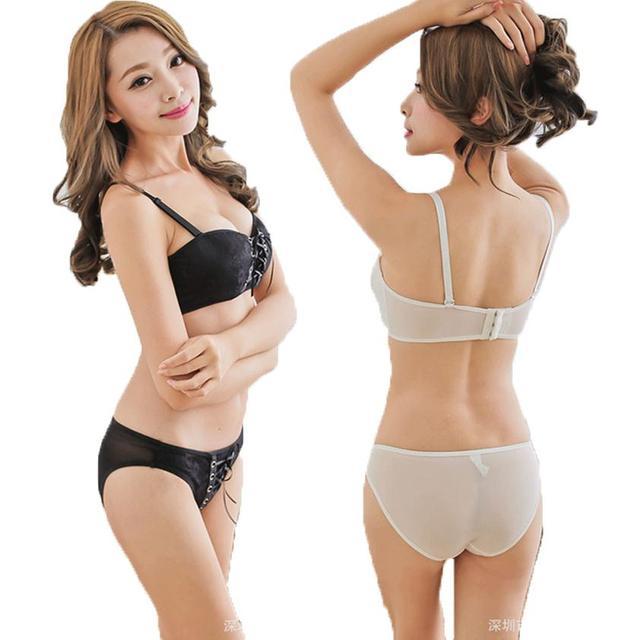 High Quality Hot Sexy Bra Set 1/2 A B Cup Super Push Up Sexy Bra Panty Vs Secret Brand Women Underwear Set Black Lingerie Sets