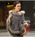 Autumn Winter Woolen Poncho Women's Casual Knitted Fur Shawl Real Raccoon Fur Trim Hood Hooded Real Rabbit Fur Pullover AU00299