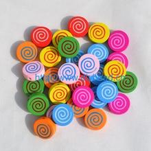 100pcs/lot DIY fashion jewelry beads,jewelry accessory,cartoon wooden beads,cartoon lollipop,mix color
