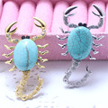 Blue Scorpion Rhinesto Brooches Women Safety Pin Brooch Jewelry Acrylic Vintage Broches For Christmas Gifts XZ024