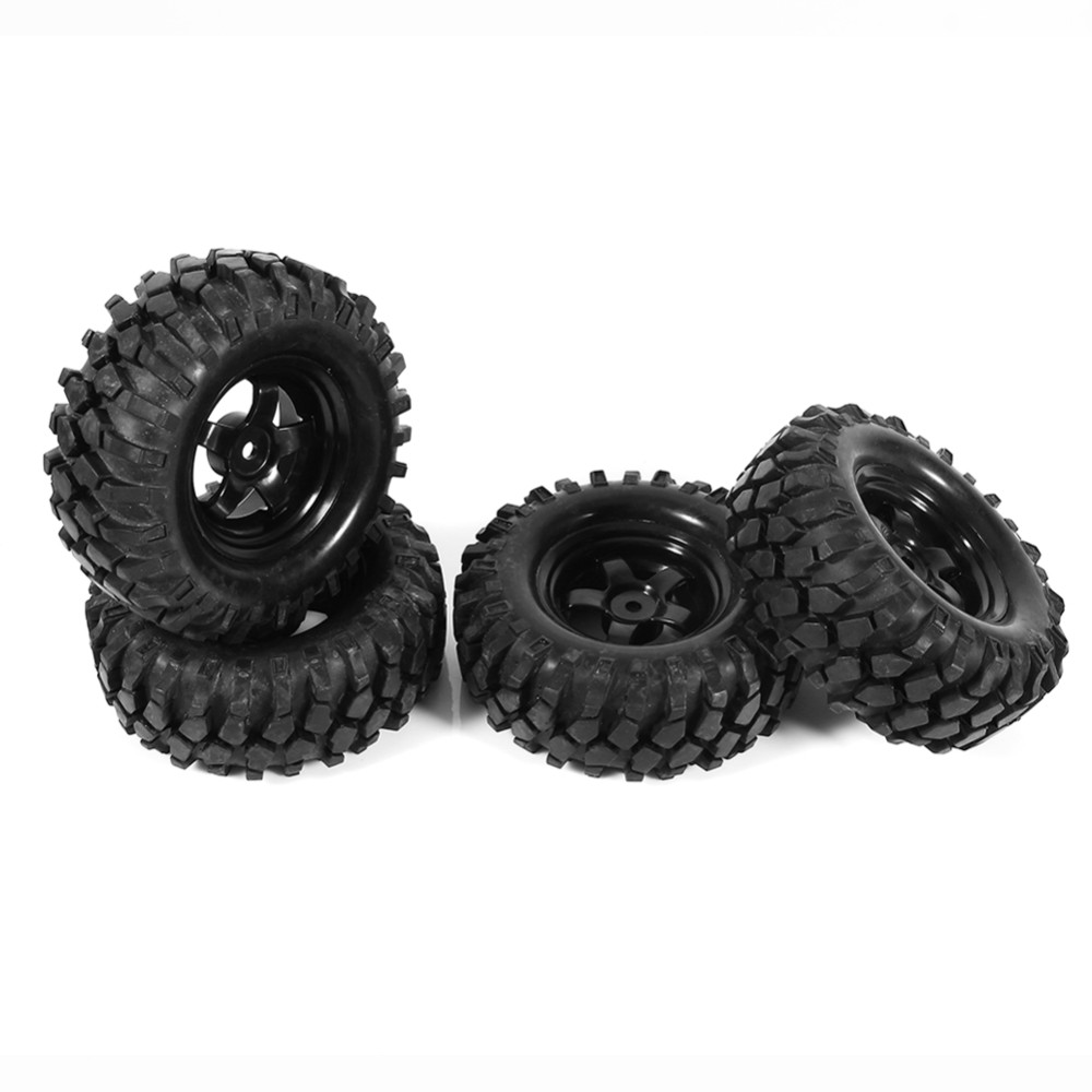 4Pcs Black 1:10 Rubber Tires & Wheel Hubs Rims Set RC Car On Road Crawler Buggy Tire Abrasion Resistance Model Toys Accessory