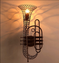 Vintage Industrial Rustic Iron Saxophone Wall lamp Sconces Steam Punk Bar Pub art deco wall light
