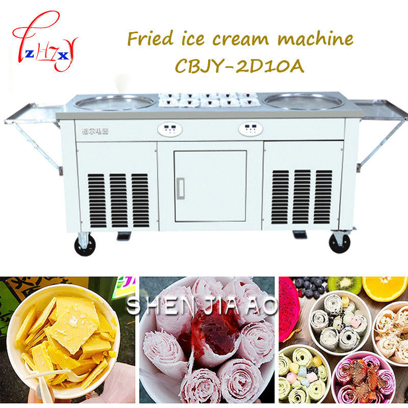 Stainless steel Fried ice cream machine two Pan 10tanks Fry flat ice cream maker yoghourt fried ice cream machine CBJY-2D10A 1pc