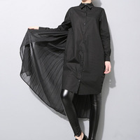 EAM 2017 Spring Ladies Plus Size Personalized Black Pleated Chiffon Splicing Shirt Dress Hot Sale
