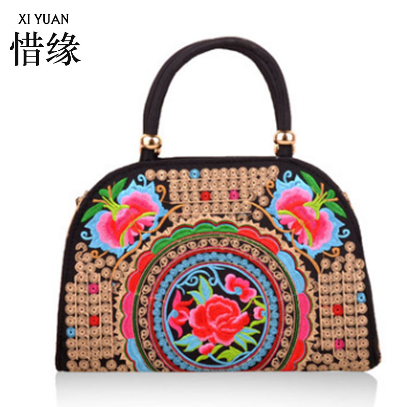 XIYUAN BRAND Original Folk Style Vintage Canvas shell Ethnic Bag Women Handbag Handmade Embroidered Tote Shoulder Bag Bolsos ethnic embroidered black cami dress for women
