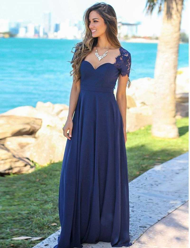 3257f591e3007 Detail Feedback Questions about 2019 Beach Navy Blue Long Bridesmaid ...