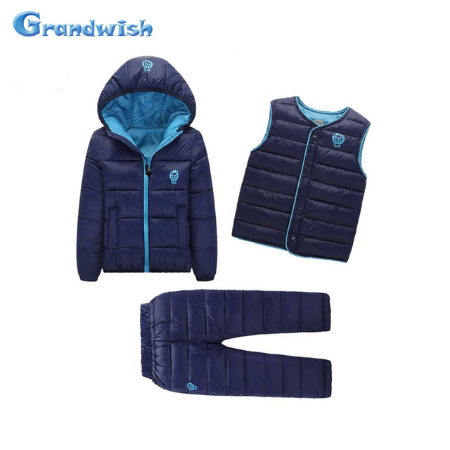 Grandwish Kids Down Suits Boys Winter Down Sets Children Print Warm Set Girls Jackets Coats+Vests+Pants 3 Pic Sets 18M-8T, SC550
