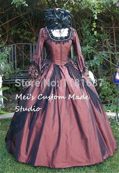 1800 Copper and Black Gothic Victorian Marie Antoinette Steampunk Dress Event Dress with Black Lace