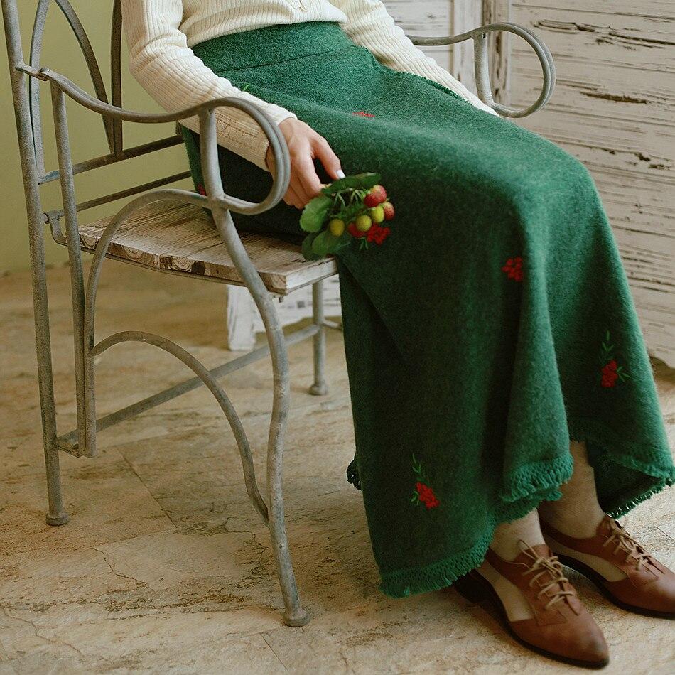 Jupe Tricoté Broderie Glands Printemps Lynette's Émeraude Fleur Vert Automne Chinoiserie Femmes Ungqwx7zv