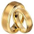 1 Пара 8 мм/6 мм Золотой Пластине Tungsten Carbide Обручальное Годовщина Брака Кольца Набор для Его и Ее уникальные Ювелирные Изделия