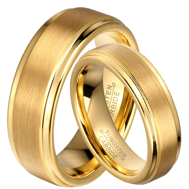 1 Pair 8mm / 6mm Gold Plate Tungsten Carbide Engagement Anniversary Marriage Rings Set for His & Her Unique Jewelry
