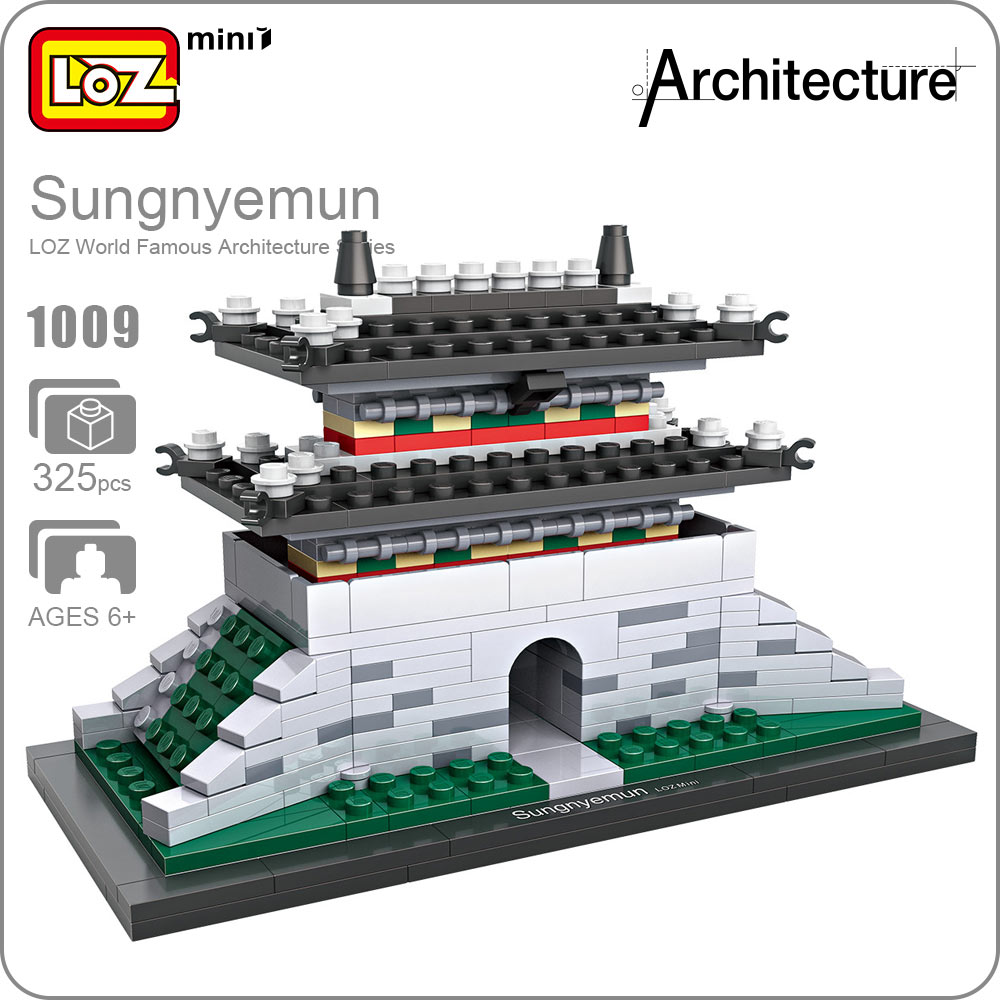 LOZ ideas Mini Block Sungnyemun World Famous Architecture Series Blocks Building DIY Educational South Korea Gate Ancient 1009 mr froger loz diamond block easter island world famous architecture diy plastic building bricks educational toys for children