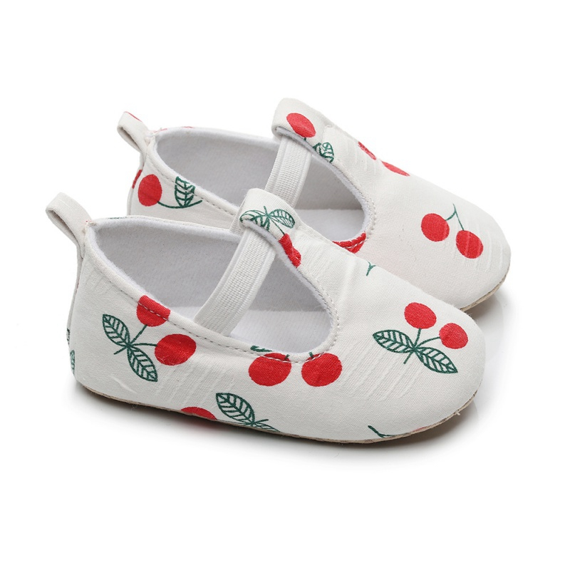 Baby Girl Shoes Autumn Cherry Print Anti-Slip Todler Shoes Casual Sneakers Toddler Soft Soled First Walkers