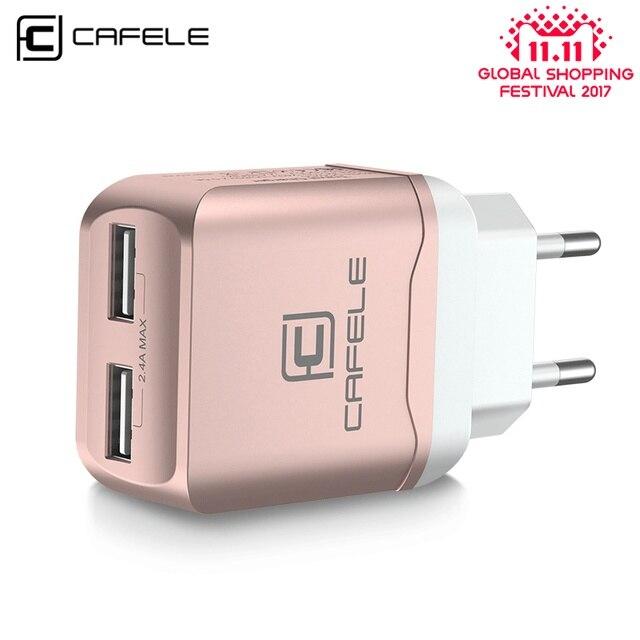 Cafele ЕС Зарядное устройство Plug Путешествия USB 2.4A двойной выход универсальный адаптер Зарядное устройство смартфон Зарядное устройство с 2 в 1 Выдвижной кабель