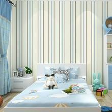 3D Non-woven Mediterranean Blue Striped Wallpaper Vertical Living Room Study Room Green Wall Paper Roll