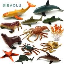 Simulação de Plástico mar Tubarão Peixe Golfinho lagosta caranguejo polvo Animais Figura Modelo Criaturas Do Oceano Presente Para As Crianças Crianças Brinquedos