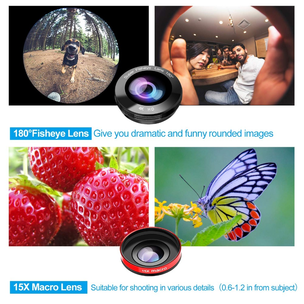 Phone Camera Lens, 5 in 1 iPhone Zoom Lens Kit 15X Telephoto Lens + Wide Angle + Fisheye + Macro Lens (2 Lens) Compatible With iPhone Samsung Android And Most Smartphones 4