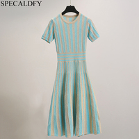 Women Knitted Sweater Dress Summer Knit Dresses 2019 High Quality Fashion Brand Elegant Striped Dresses Party Robe Femme