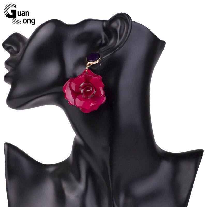 Guanlong Vintage Elegant Long Acetic Acid Acrylic Flower Earrings for Women Metal Acetate Resin Earings Fashion Jewelry Brincos (6)