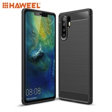 HAWEEL Phone Case for  Huawei P30 Pro Brushed Texture Carbon Fiber Shockproof TPU Case Protective Cover Shell