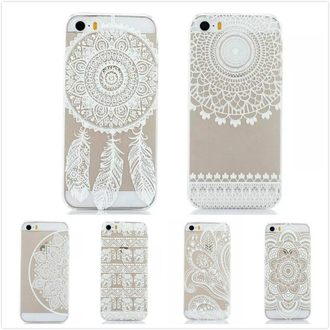 Phone Cases Luxury PC Clear Vintage White Paisley Flower Phone Cases Hard Housing Back Cover Case for Apple iPhone 5 5S