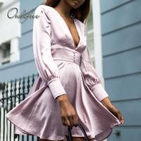 Ordifree 2019 Autumn Women Silk Dress Long Sleeve V Neck High Waist Faux Silk Short Sexy A Line Dress Robe Femme