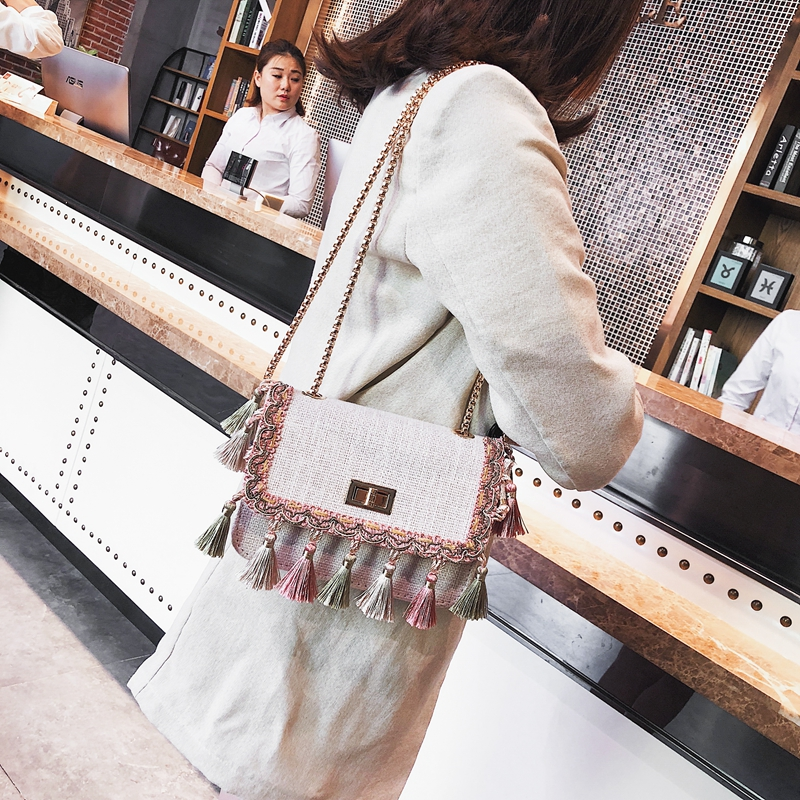 SUNNY SHOP Boho Fringe Crossbody Bag High Quality Women Fashion 2018 Mini Chain Shoulder Bag Canvas National Fashion Summer Bag