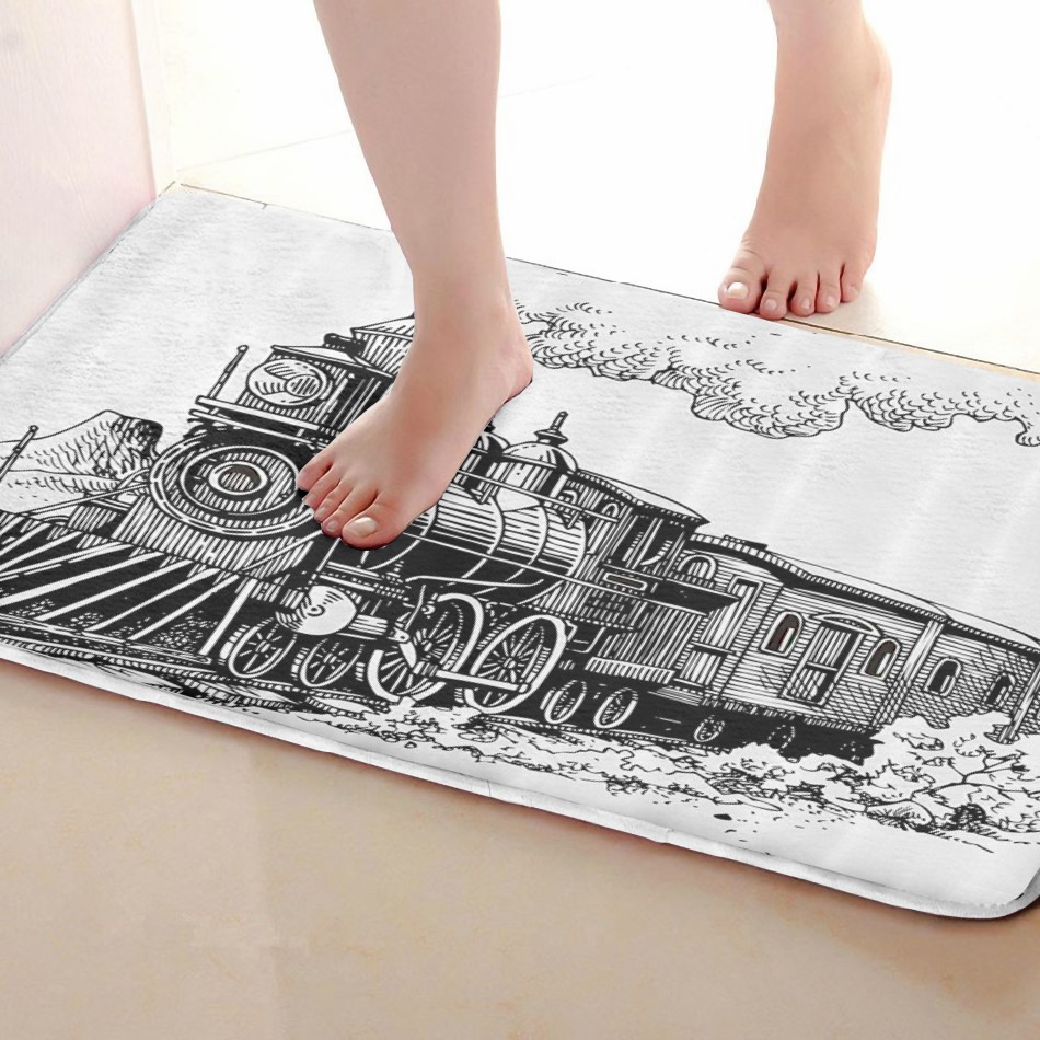 Train Style Bathroom Mat,Funny Anti Skid Bath Mat,Shower Curtains Accessories,Matching Your Shower Curtain