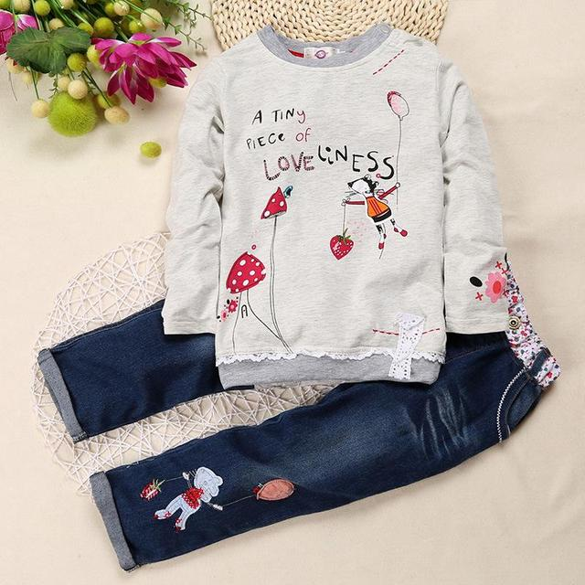 Children Girl Clothing Sets  Kids Girls Shirts Clothes Clothing Cartoon Shirt  + Cowboy Pant Suit Kids Costume For Girls