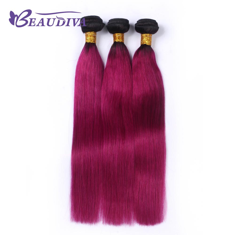 BEAUDIVA Pre-Colored T1B/ Dark Red Color Brazilia Remy Human Hair 3 Bundles Ombre Human Hair Extensions Weave
