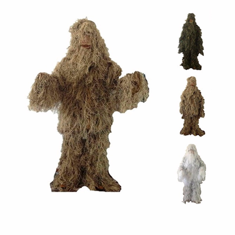Unisex 3 Color Camouflage Hunting Ghillie Suit Disguise Hunting Clothes Sniper Suit Camo Clothing Desert Jungle Military Uniform 3d leaf camouflage tactical military airsoft paintball hunting camo bionic disguise sniper archery ghillie suit disguise uniform