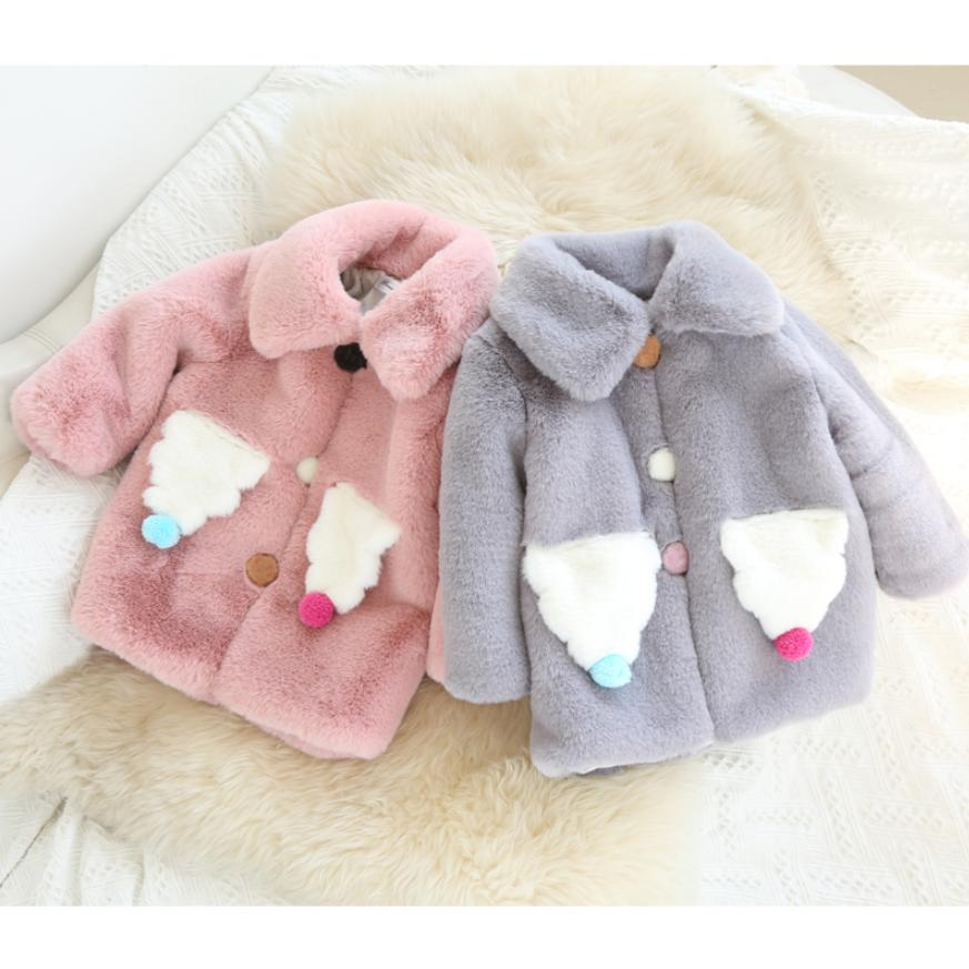 Winter Children's Baby Cute Warm Jacket Faux Fur Coat Thicken Baby Girls Clothes Outwear Single-breasted Coat Kids Clothes Y113