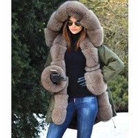 2019ladies new Parker coat raccoon fur large fur collar natural fox fur rex rabbit fur liner lining winter warm fashion jacket