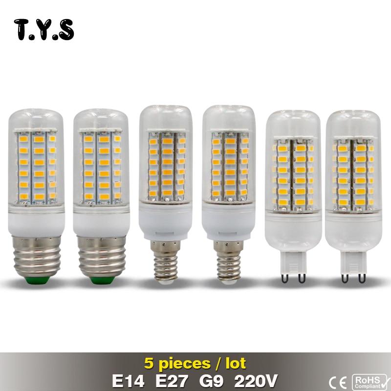 5 шт. ce светодиодные лампы 220 В E27 E14 G9 SMD 5730 Лампочки энергосберегающие лампы для дома Освещение 72 69 56 48 36leds диод лампы