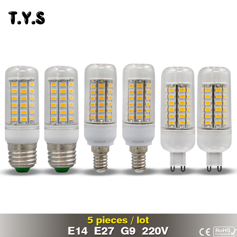 5pcs CE LED Bulb Lamp 220V E27 E14 G9 SMD 5730 Light Bulbs Energy Saving Lights for Home Lighting 72 69 56 48 36 leds Diode Lamp led smart rechargeable e27 emergency light bulb lamp home commercial outdoor lighting b22 5w 7w 9w 12w 220v energy saving lamp