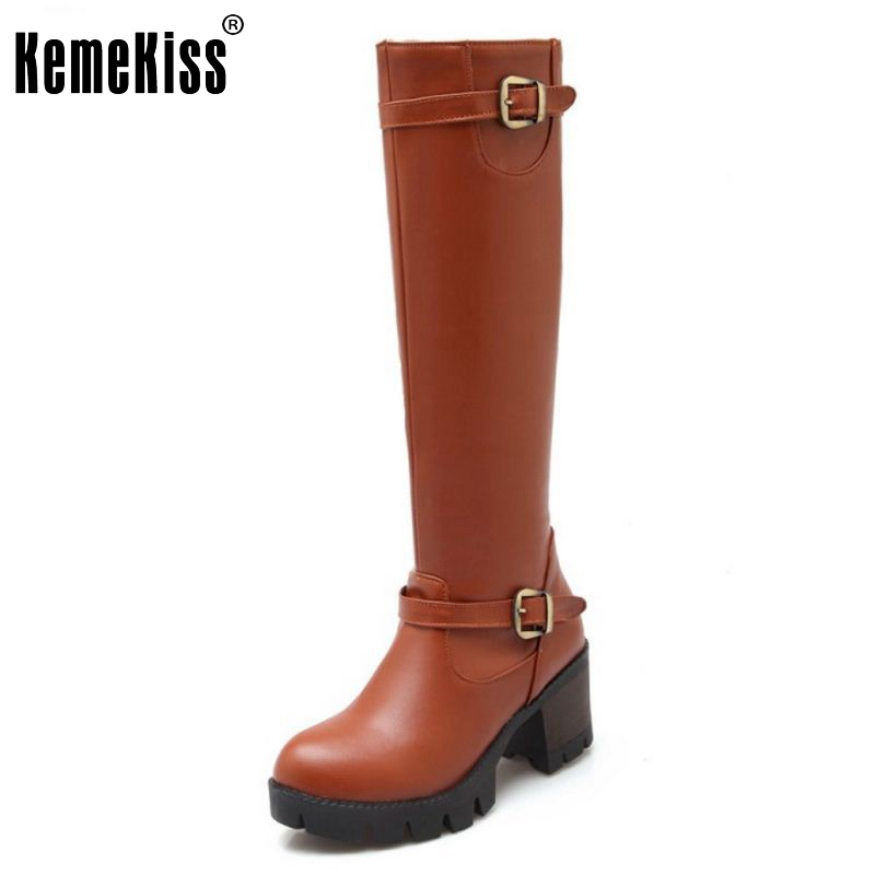 Women High Heel Over Knee Boots Ladies Botas Equestrian Militares Fashion Snow Boot Warm Winter Footwear Shoes Size 34-43