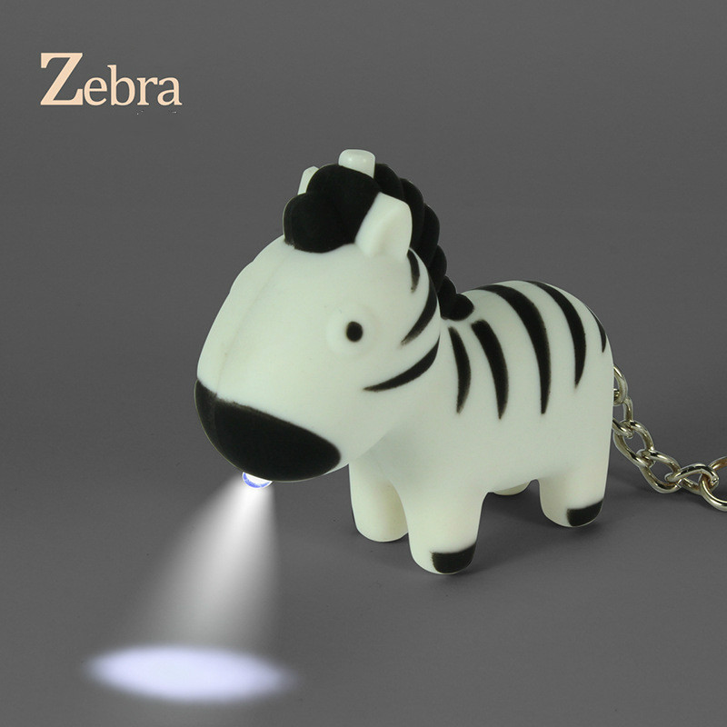 US $28 9 |Cartoon zebra horse keychain LED sound key chain zoo creative  gifts free shipping 071-in Key Chains from Jewelry & Accessories on