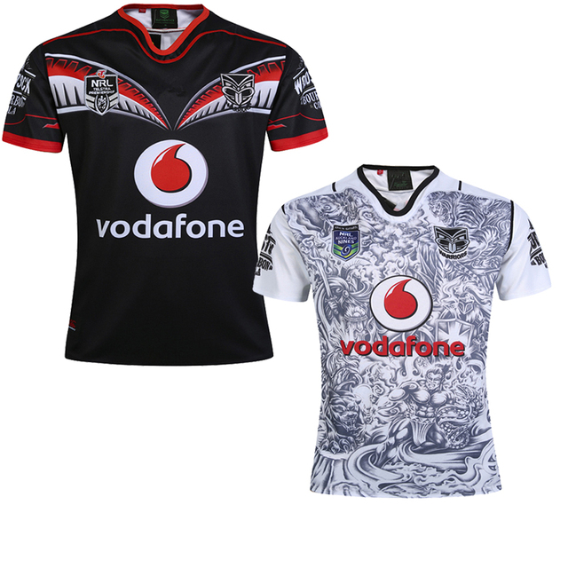 bf67866b90d77 2018 TOP NRL New Zealand Warriors rugby jerseys home black away white 2019  Warriors RUGBY SHIRT size S-3XL FREE ship